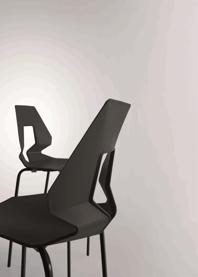 Prodige NA, Minimal chair in metal and polymer, perfored back