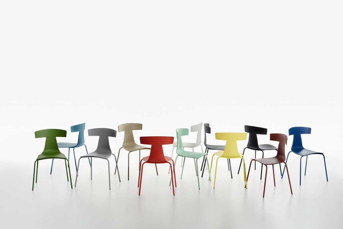 Remo plastic mod. 1417-20, Stackable chair, in metal and polypropylene