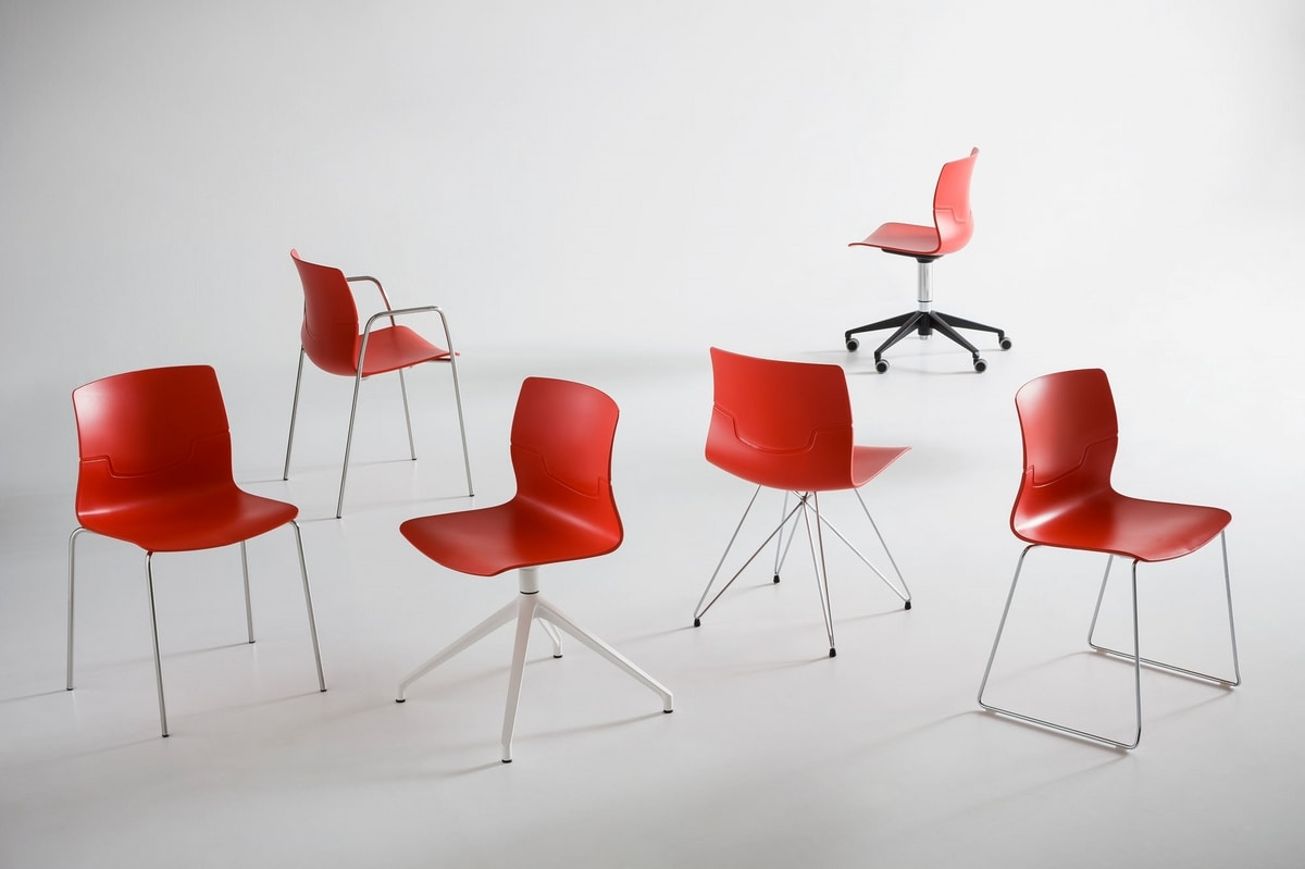 Slot Fill TC, Chair with tmatal base, technopolymer shell