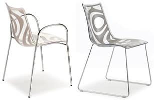 Wave chair, Metal chair, technopolymer seat, stackable