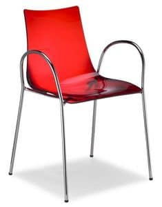 Zebra/P, Stackable chair with armrests, made of metal and polycarbonate