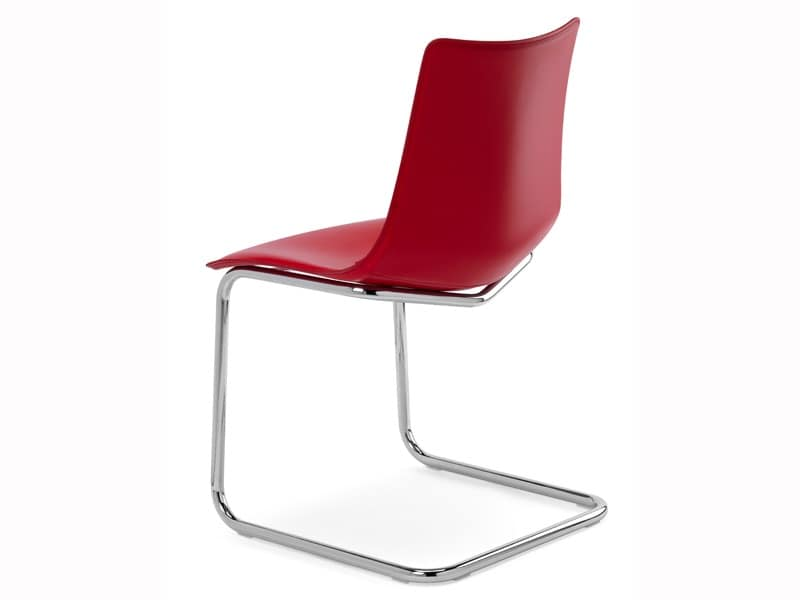 Zebra Pop cantilever, Visitor chair with coated polycarbonate shell