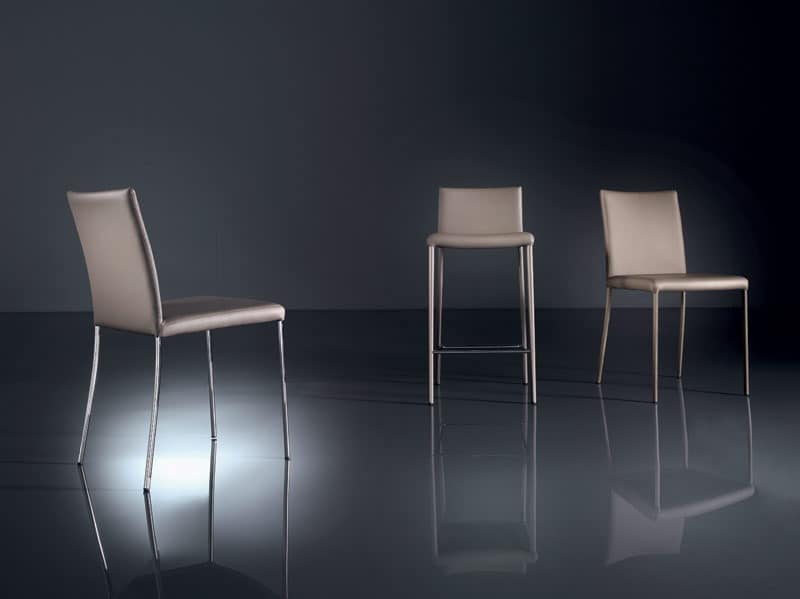 ART. 219 PRISCILLA  , Modern chair in painted metal, removable fabric