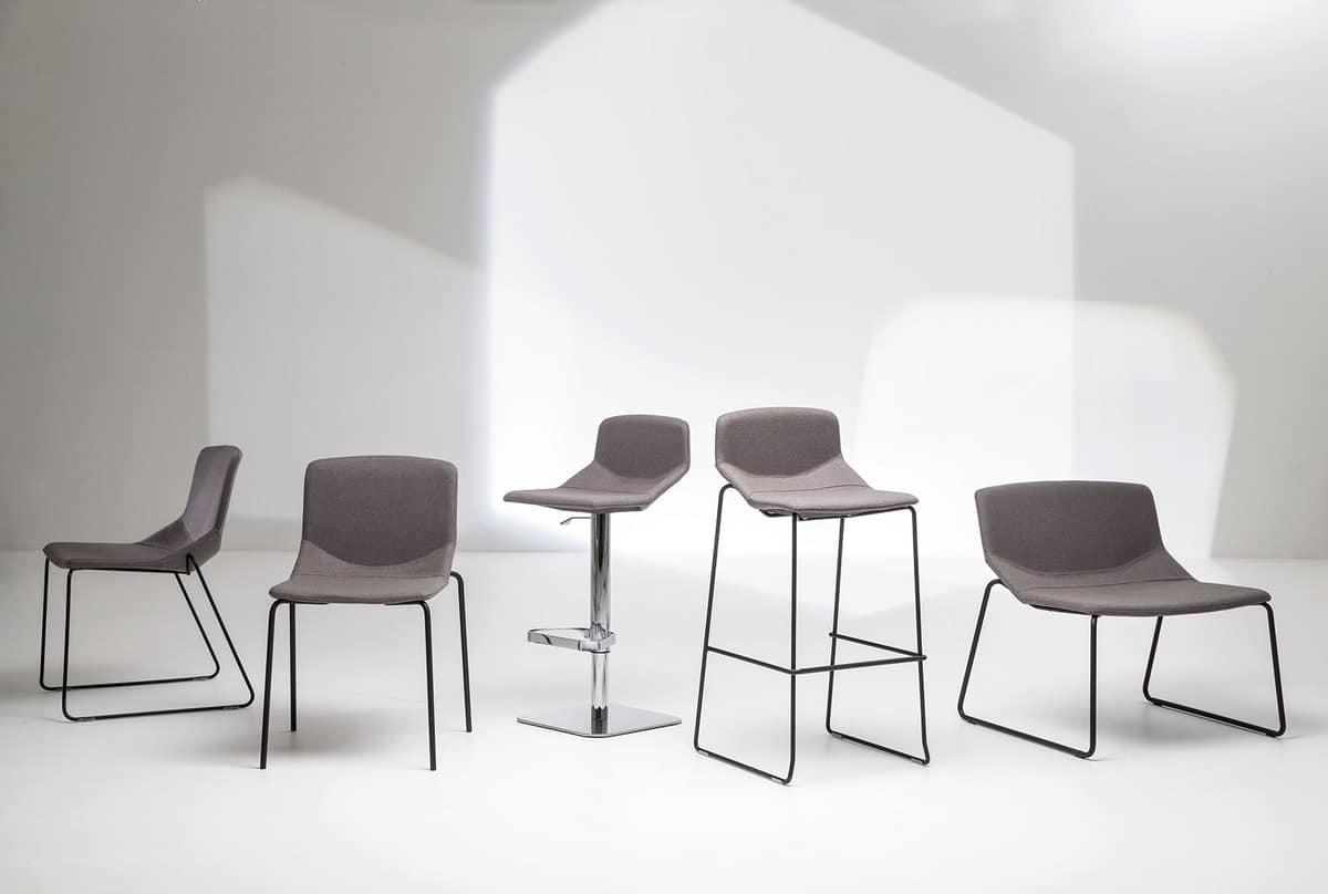 Formula Slim SL, Metal chair, sled base, upholstered shell