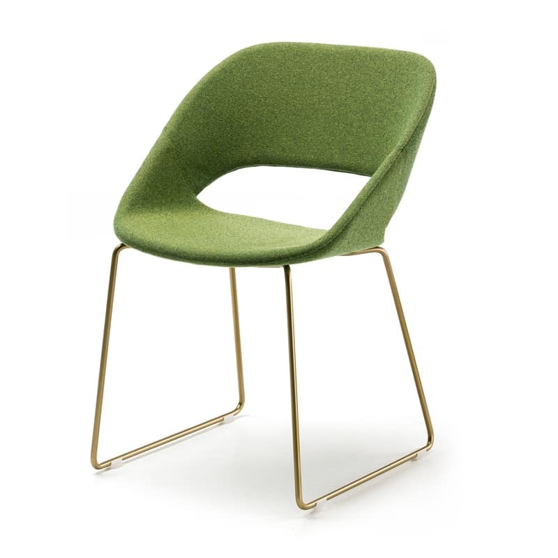 Kabira SL, Chair with base in steel rod and upholstered shell