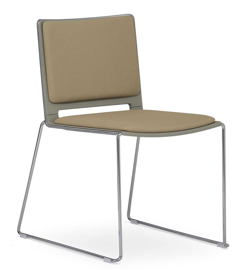Ron 01, Padded stackable chair, sled steel base