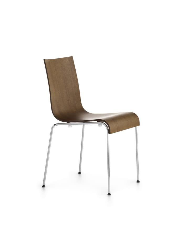 Asia R 4L/VS, Design chair in chromed steel, wood shell