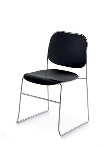 Bay R/LS, Stackable easy chair in chromed steel