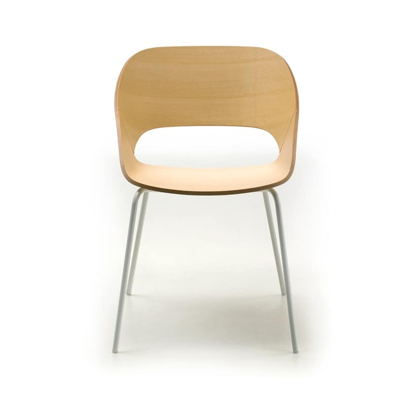 Kabira 4l Chair With Metal Frame And Plywood Shell