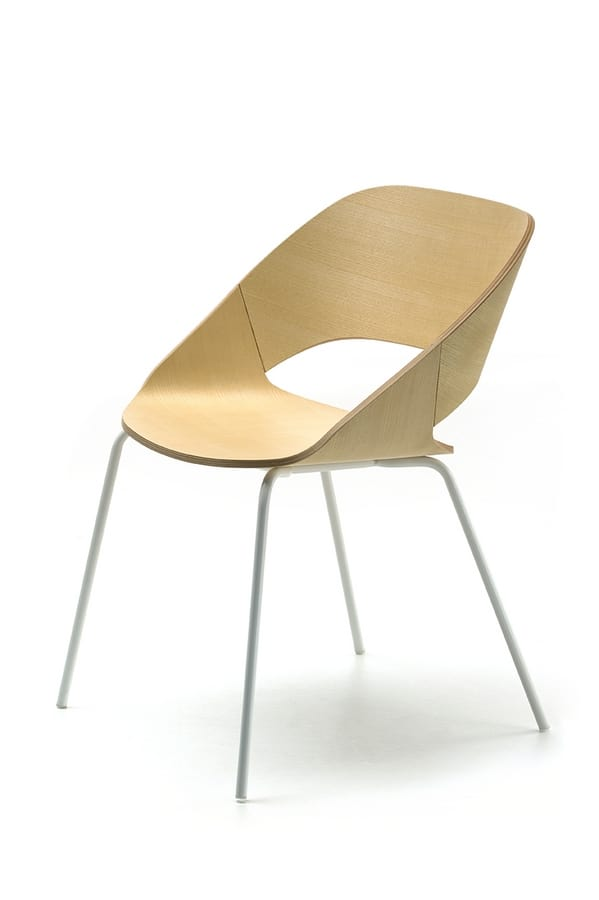 Kabira 4L, Chair with metal frame and plywood shell
