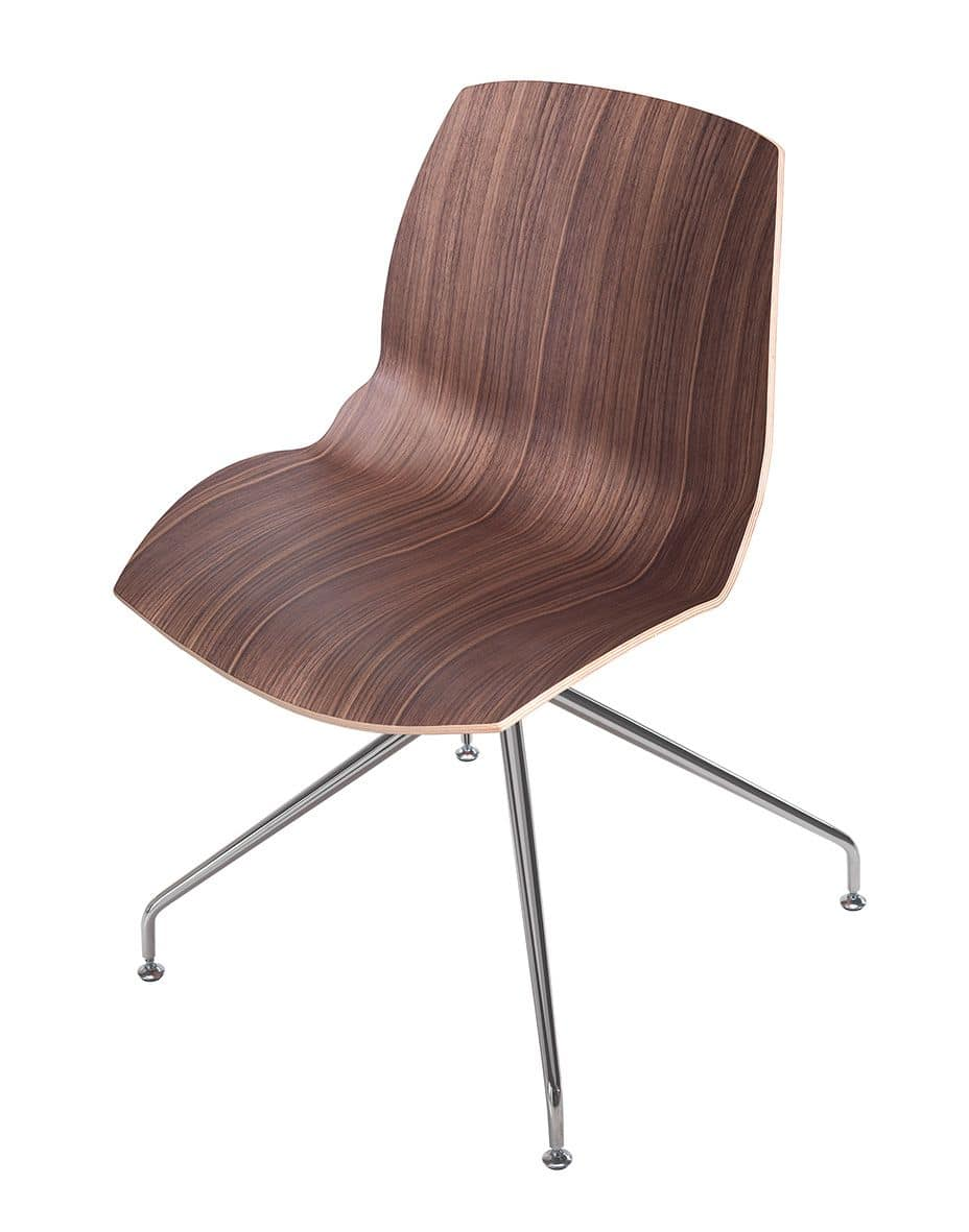 Kaleidos legno, Modern chair with wooden shell and metal structure