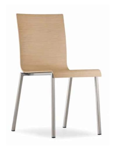 Kuadra, Stackable metal chair, with wooden shell