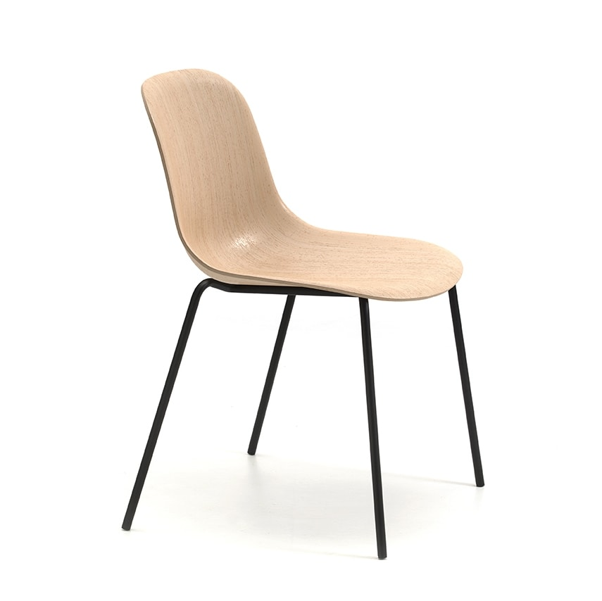 Máni Wood 4L, Chair with shell in basic 3D veneer