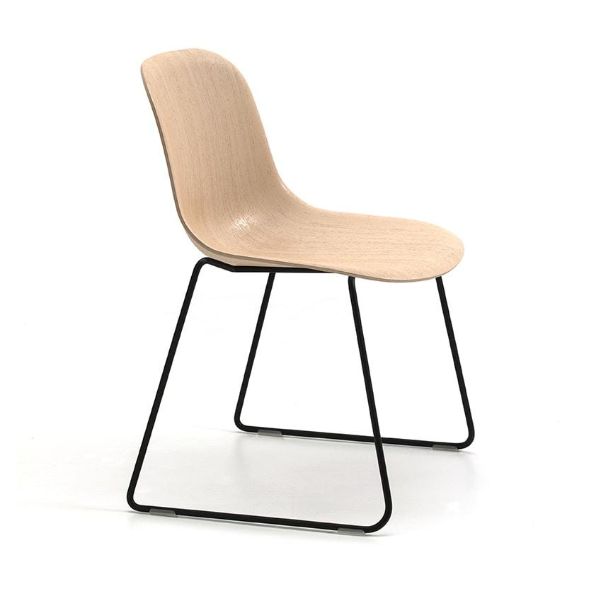 Máni Wood SL, Chair with sled base