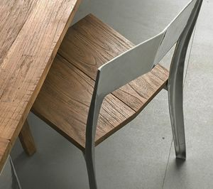 Noa, Solid teak and alluminium chair