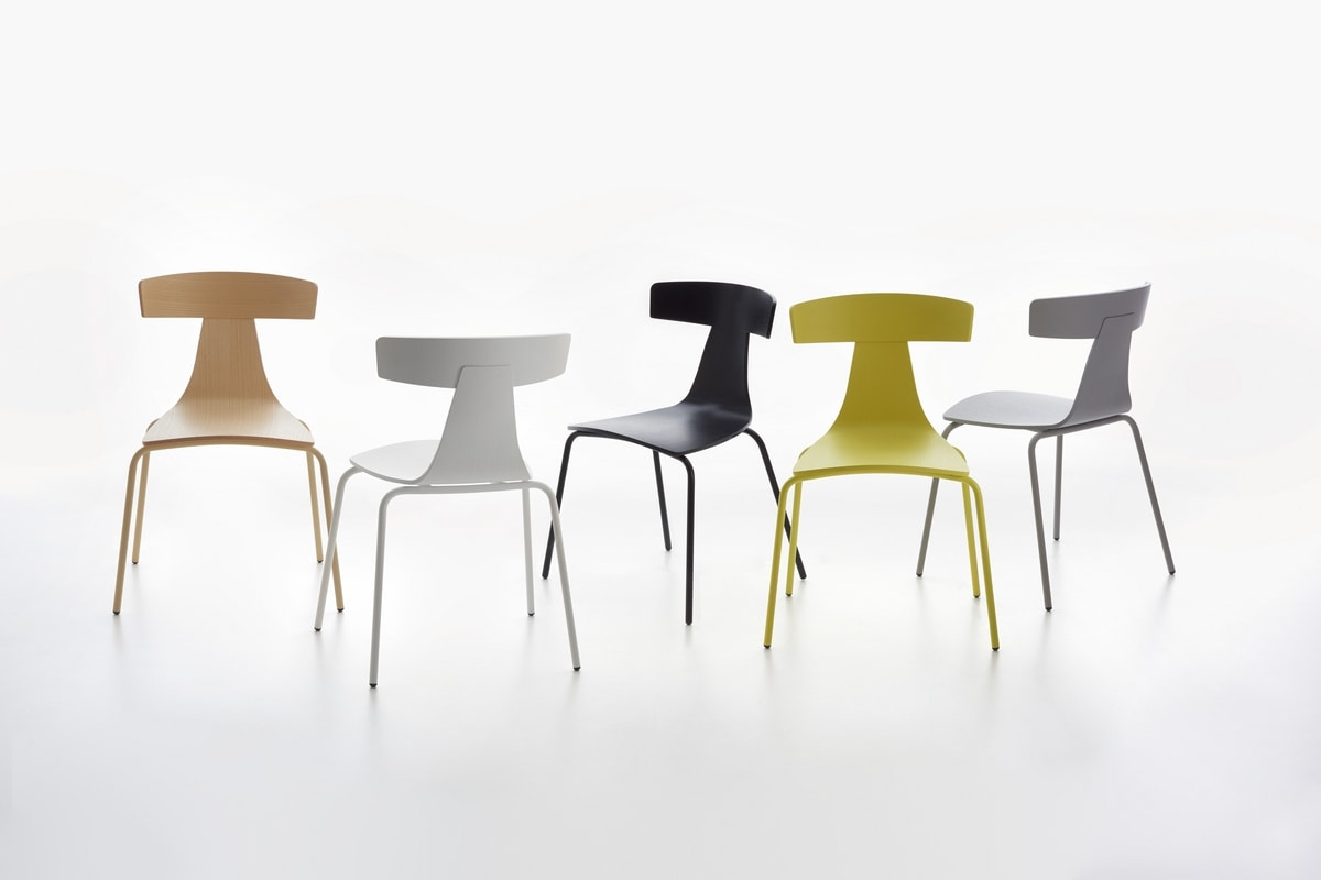 Remo mod. 1416-20, Metal chair, stackable, plywood seat and backrest