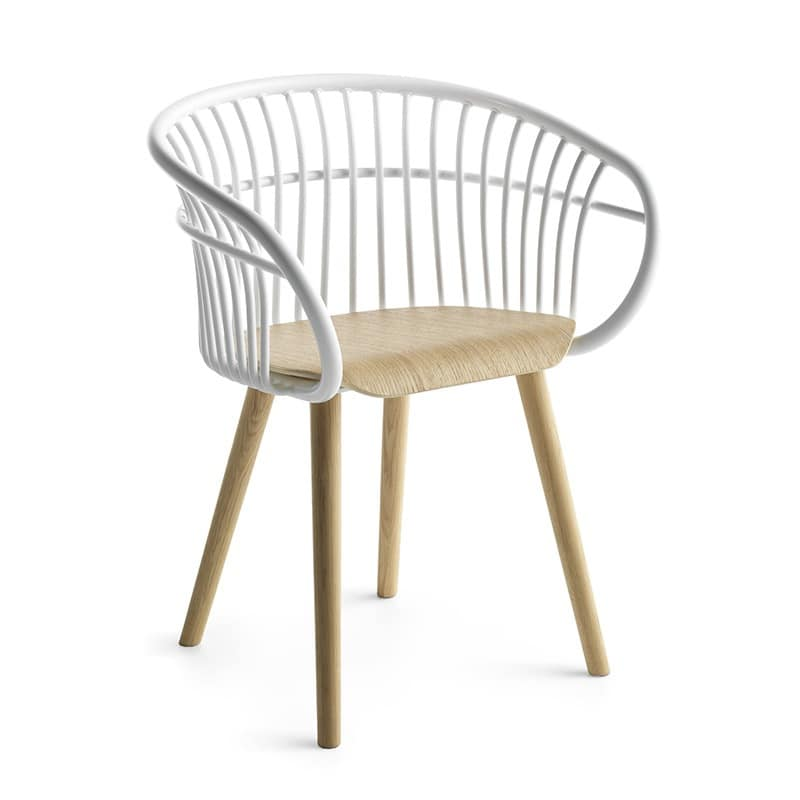 Stem 4W/WS, Design wood chair, with aluminum back and arms