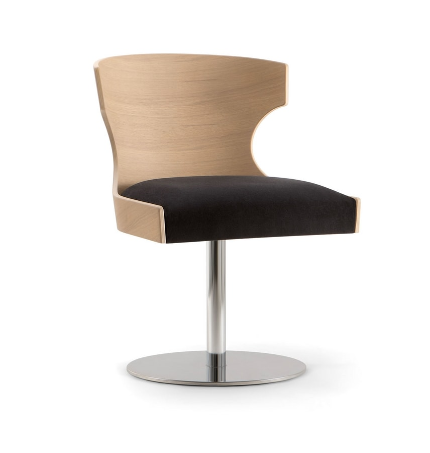 XIE SIDE CHAIR 052 S F, Chair with wooden shell and metal disc base