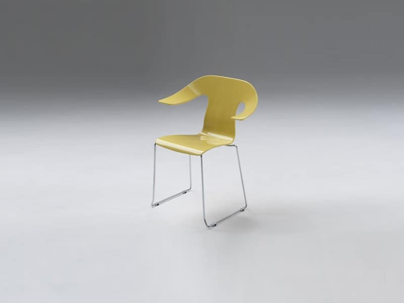 Anna 3, Armchair with sled base, chromed structure
