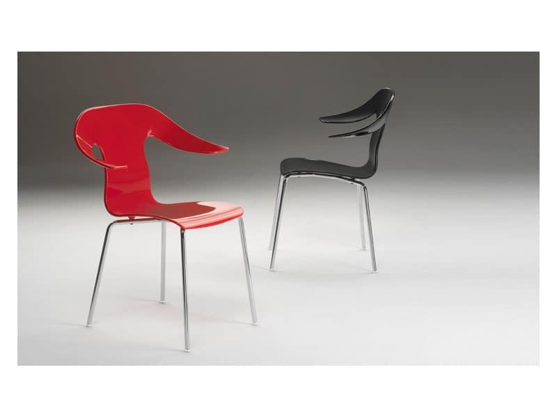 Anna, Armchair made of polymer, chromed structure