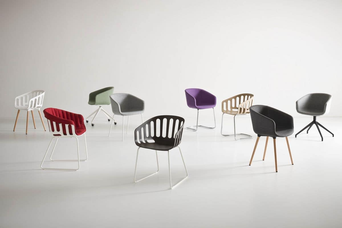 Basket Chair BL, Chair with beech wood legs, polymer shell