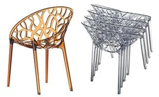 Crystal, Plastic stackable armchair, for outdoor use
