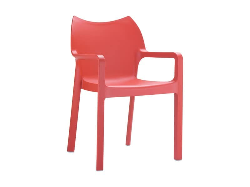 Dana, Stackable chair with armrests, made of plastic