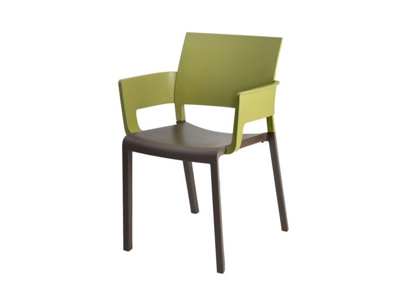Fiona - P, Stackable chair with armrests, easy to clean