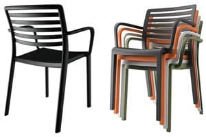 Lama - P, Plastic chair with horizontal slatted backrest, outdoor use
