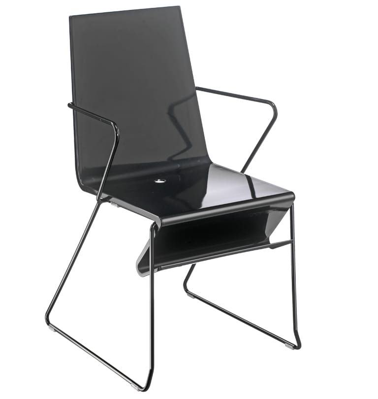 Snake 45, Chair with armrests for waiting areas, in steel and plastic