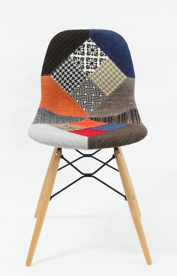 Art. 288 Shell Patch, Chair with patchwork fabric upholstery, beechwood legs