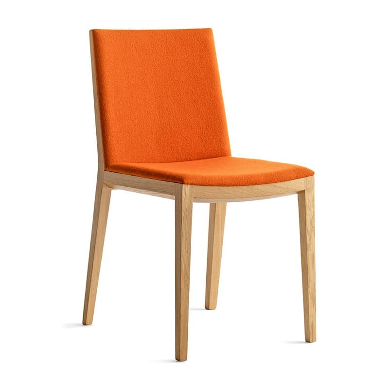 Bianca Light R/FU, Design Lunchroom Chair in wood, upholstered seat and back