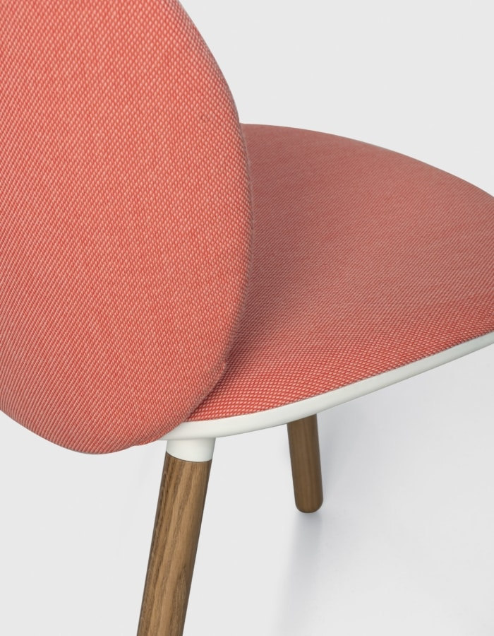 Dua wood, Design chair upholstered in fabric