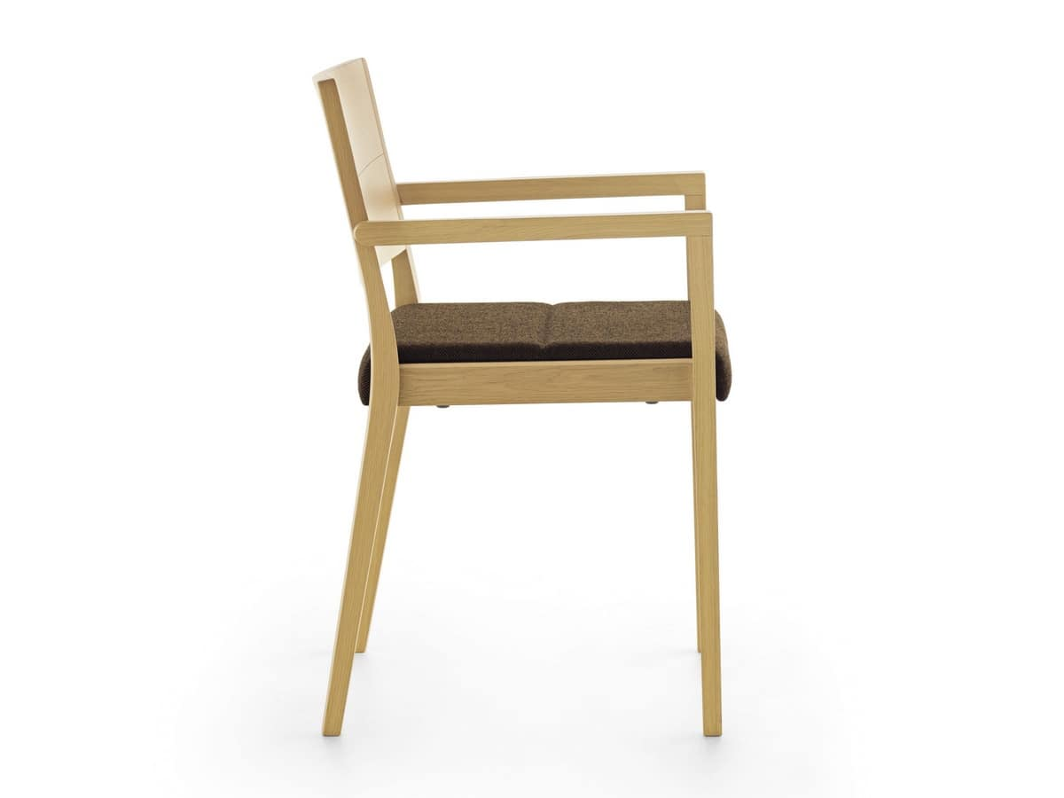 Esse PS/SU, Stackable wooden armchair, padded seat