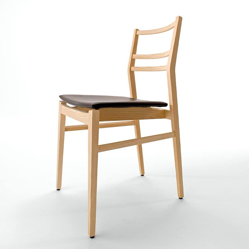 Già R/SU, Design chair, upholstered seat, Horizontal slats backrest
