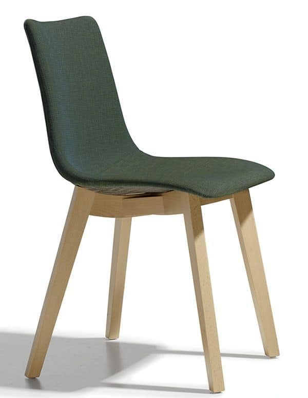 Natural Zebra Pop, Modern chair in wood with padded seat