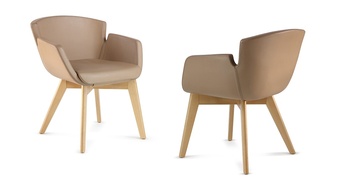 NUBIA 2908, Chair upholstered in leather for waiting rooms