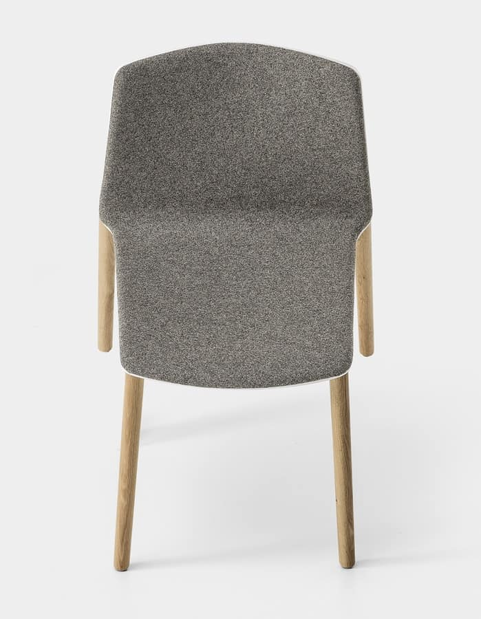 Rama Wood Base padded, Design upholstered chair with wooden legs