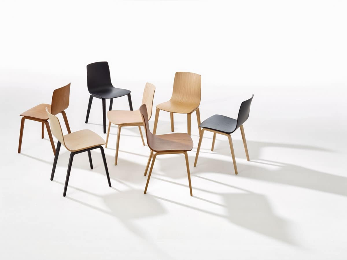 Aava, Chair with steel base, multilayered wood shell