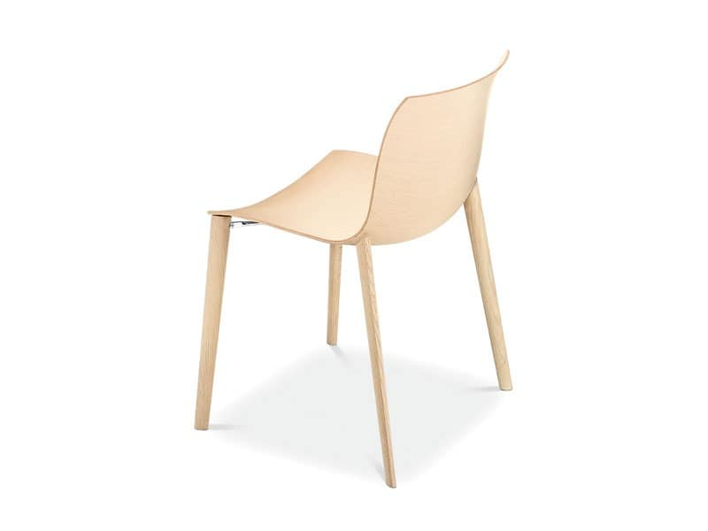 Catifa 53 4 legs wood, Design wood chair, fluid shapes, for contract use