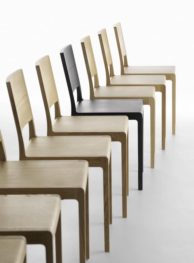 Esse R/VS, Design chair in solid wood, rounded edges