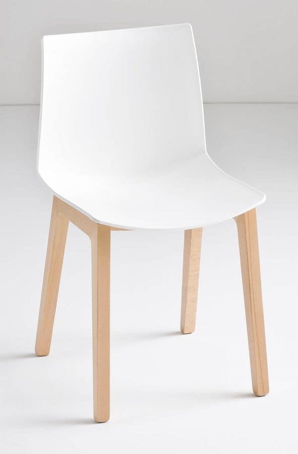 Kanvas BL, Chair with beech legs, technopolymer shell