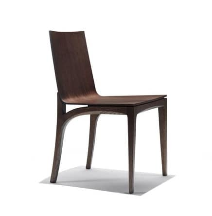 Mak, Wooden chair with curved seat and backrest