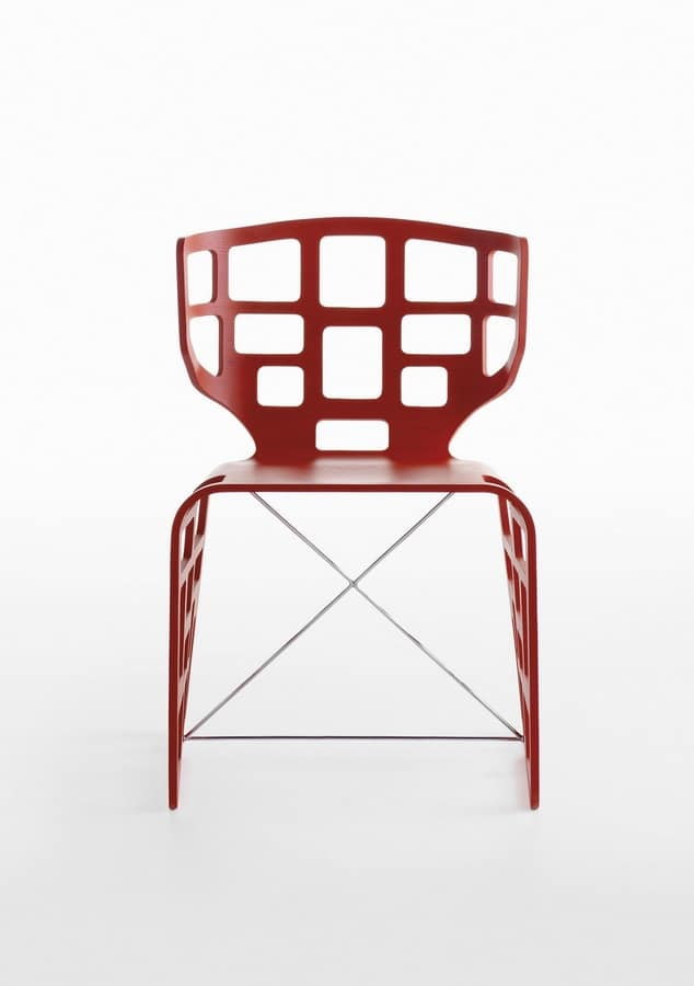 Olè, Design chair with original shapes, drilled shell