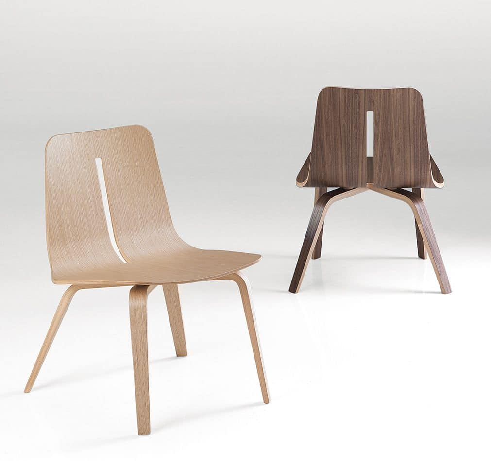 Platone, Wooden design chair for modern dining rooms