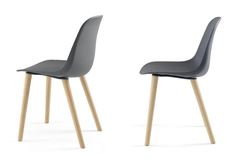 Pola Light R/4W, Design chair in wood and polyurethane, for dining room