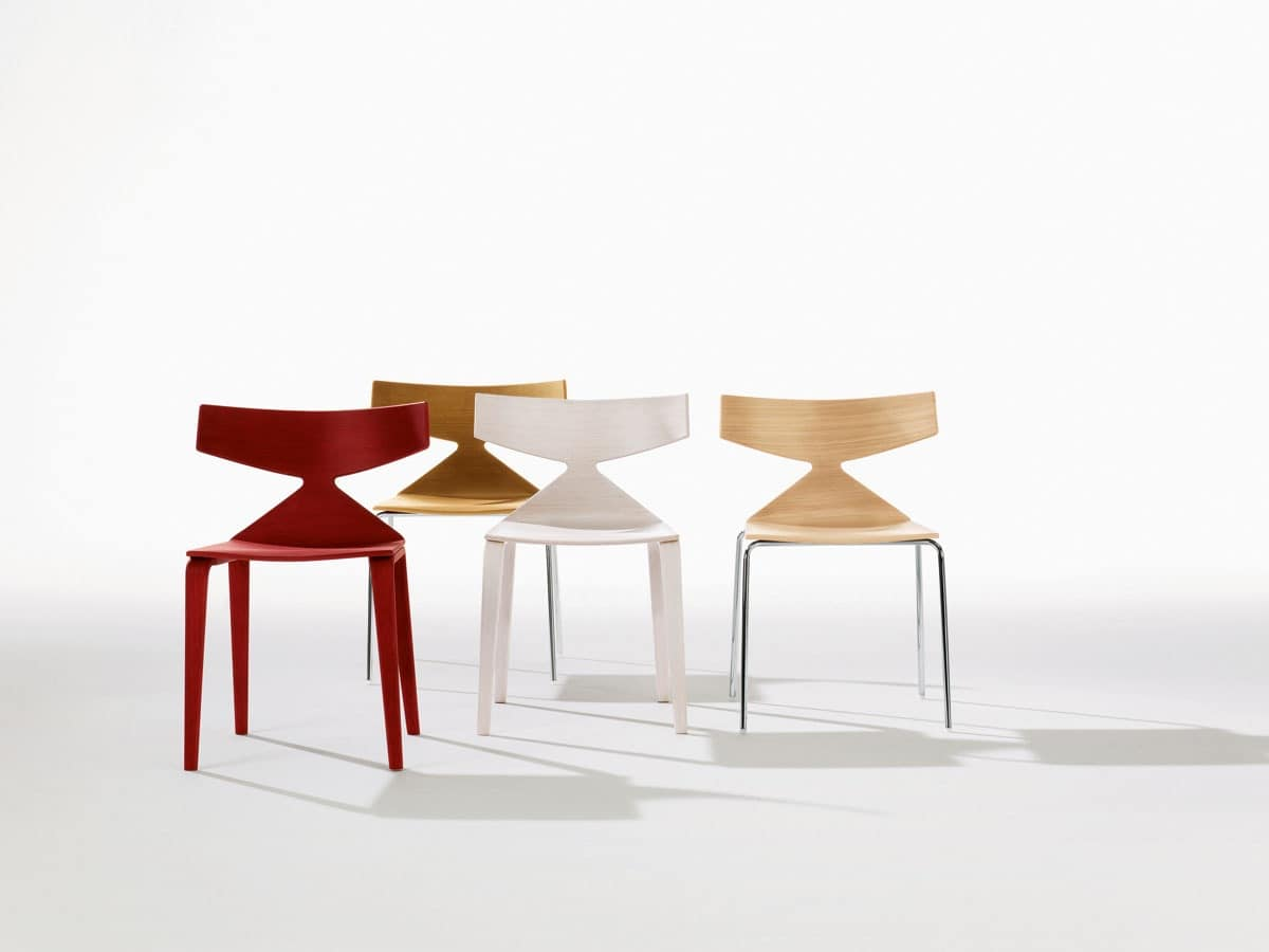 Saya, Design chair with wooden structure, dynamic lines