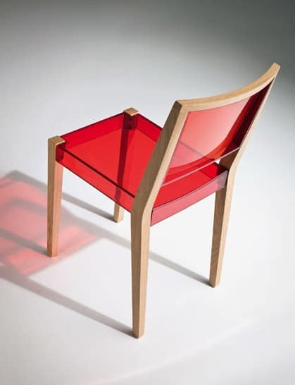 Together chair, Chair in wood and transparent thermoplastic, for contract use