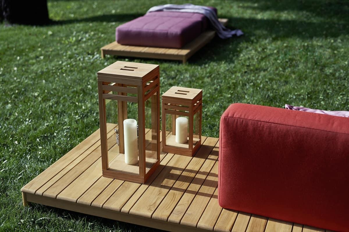 Barcode lantern, Lantern in teak and glass, with essential design