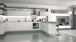Ice, White lacquered kitchen, elegant and technological